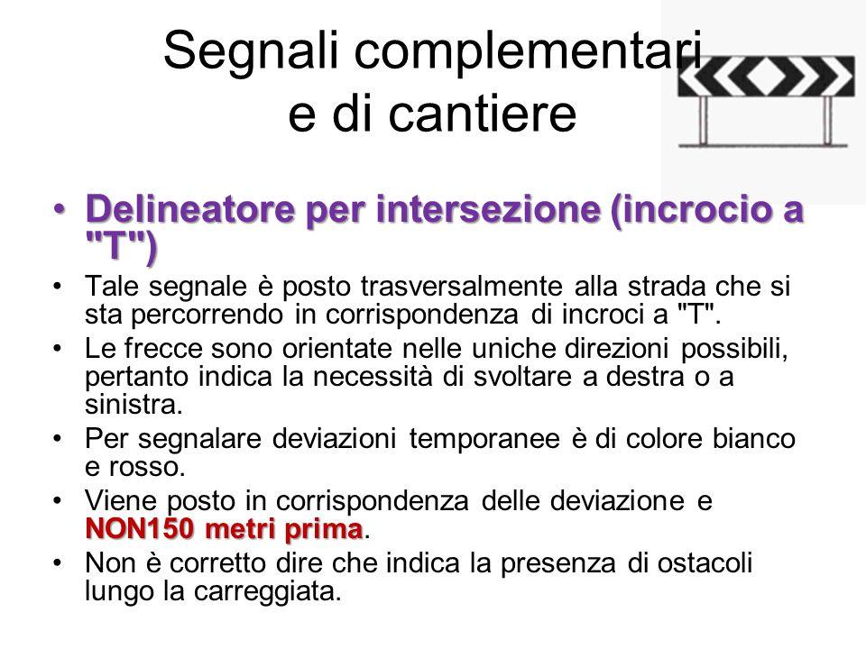 Segnali complementari e di cantiere Delineatore per intersezione (incrocio a
