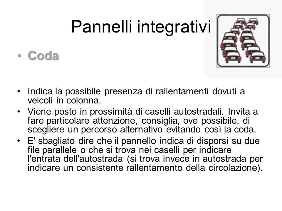 Pannelli integrativi CodaCoda Indica la possibile presenza di rallentamenti dovuti a veicoli in colonna. Viene posto in prossimità di caselli autostra