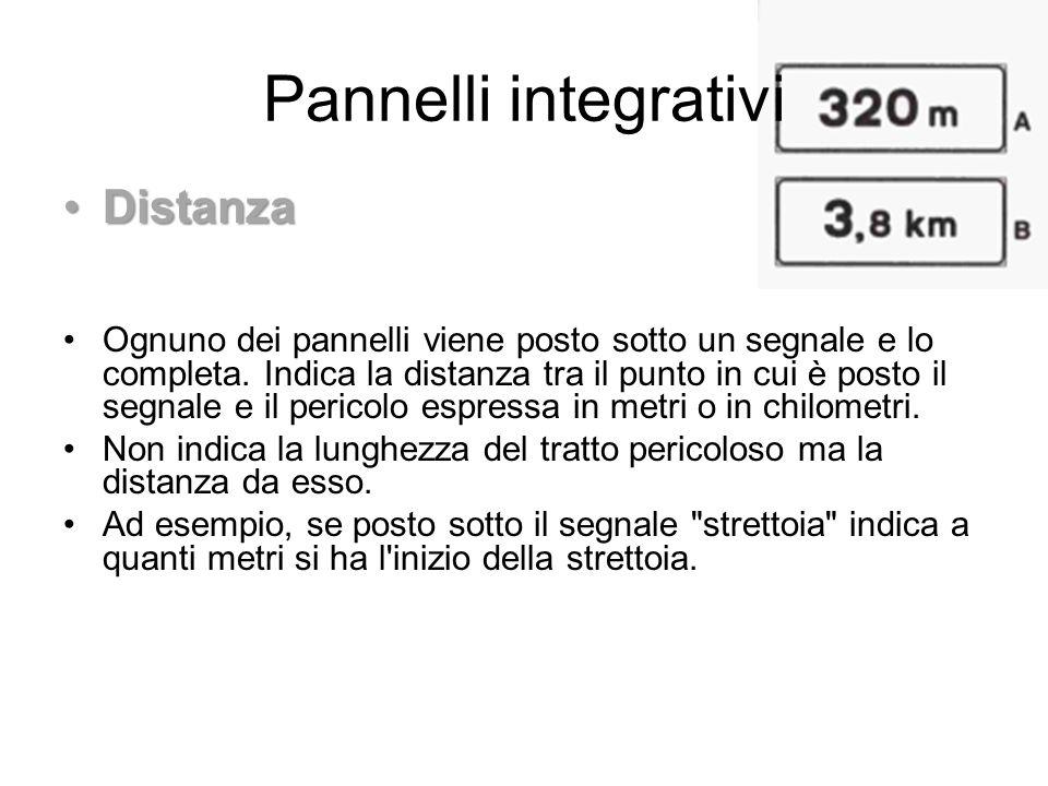 Pannelli integrativi DistanzaDistanza Ognuno dei pannelli viene posto sotto un segnale e lo completa. Indica la distanza tra il punto in cui è posto i