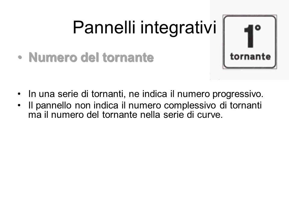 Pannelli integrativi Numero del tornanteNumero del tornante In una serie di tornanti, ne indica il numero progressivo. Il pannello non indica il numer