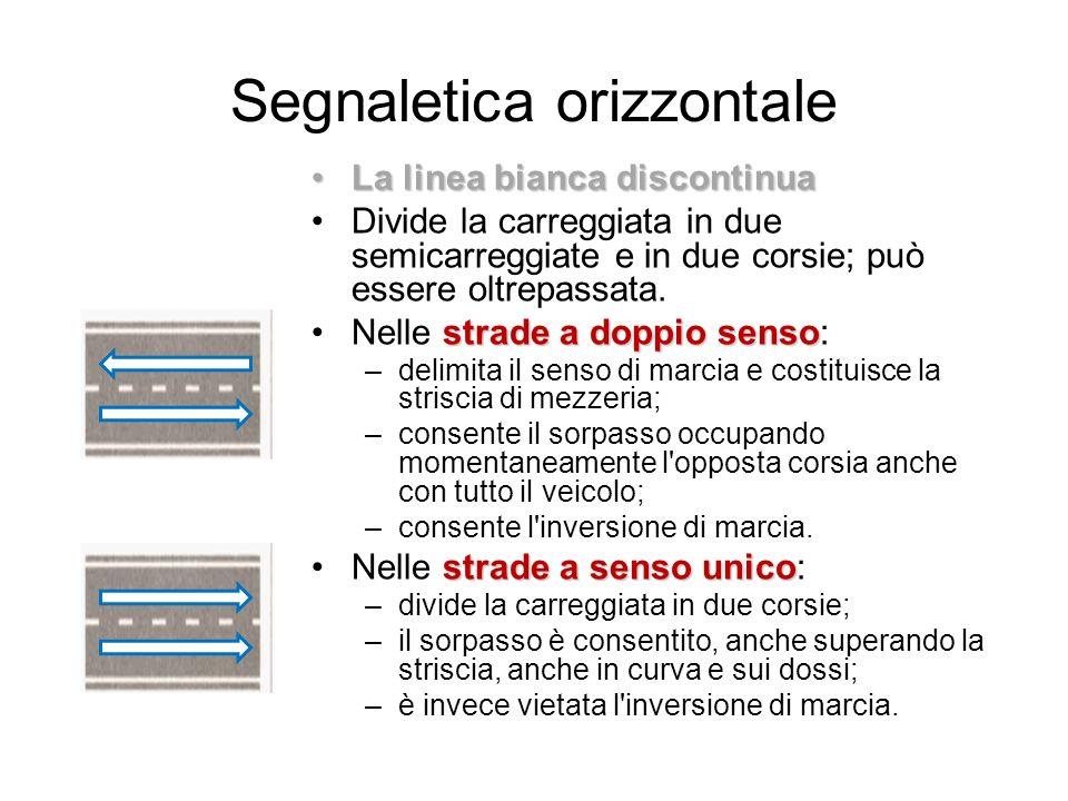Segnaletica orizzontale La linea bianca discontinuaLa linea bianca discontinua Divide la carreggiata in due semicarreggiate e in due corsie; può esser