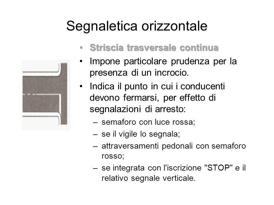Segnaletica orizzontale Striscia trasversale continuaStriscia trasversale continua Impone particolare prudenza per la presenza di un incrocio. Indica
