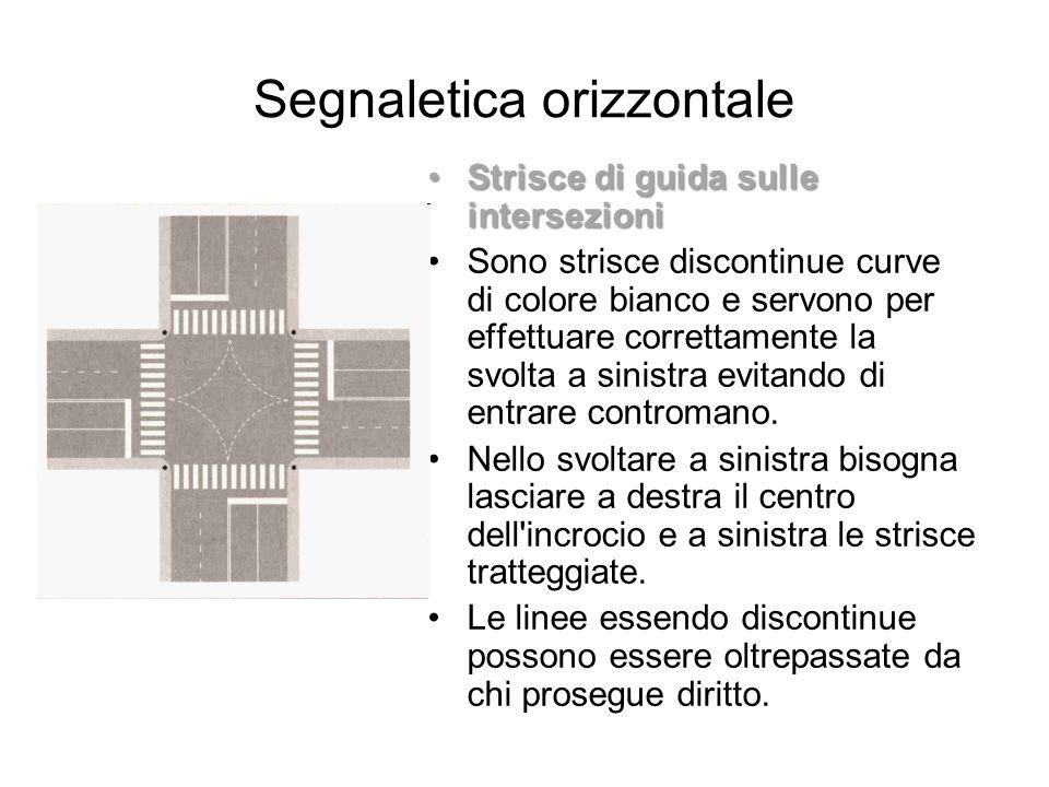 Segnaletica orizzontale Strisce di guida sulle intersezioniStrisce di guida sulle intersezioni Sono strisce discontinue curve di colore bianco e servo