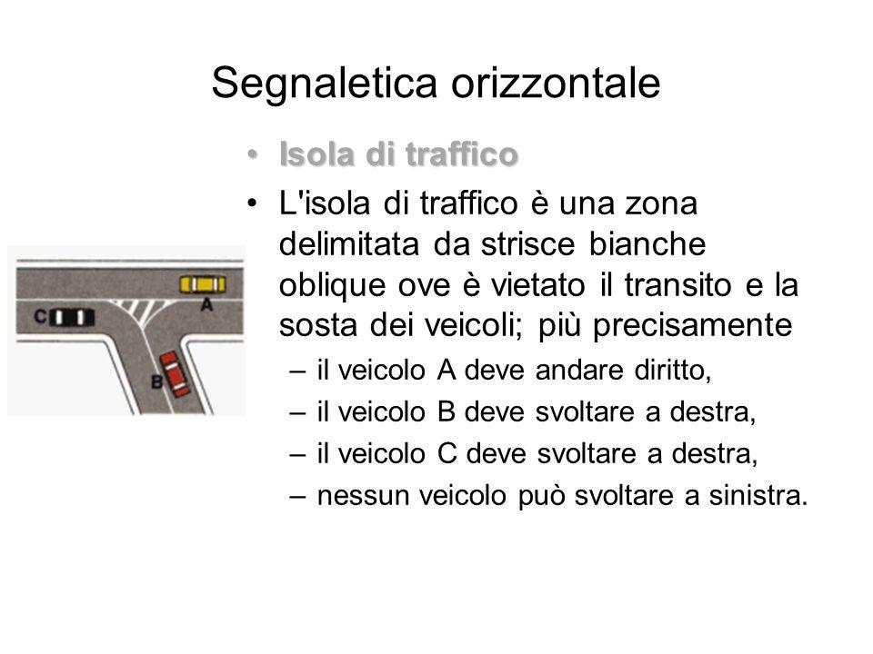 Segnaletica orizzontale Isola di trafficoIsola di traffico L'isola di traffico è una zona delimitata da strisce bianche oblique ove è vietato il trans