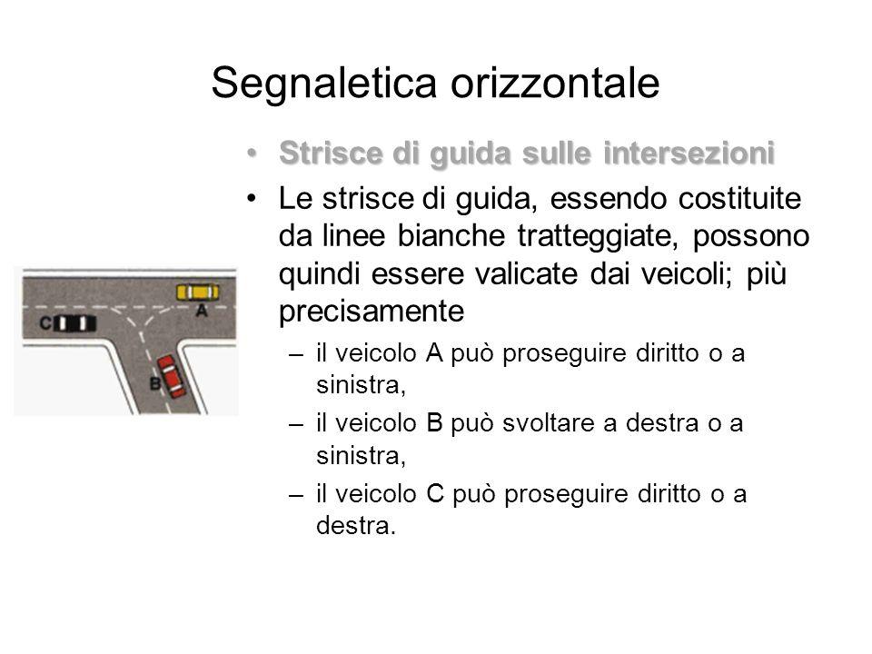 Segnaletica orizzontale Strisce di guida sulle intersezioniStrisce di guida sulle intersezioni Le strisce di guida, essendo costituite da linee bianch