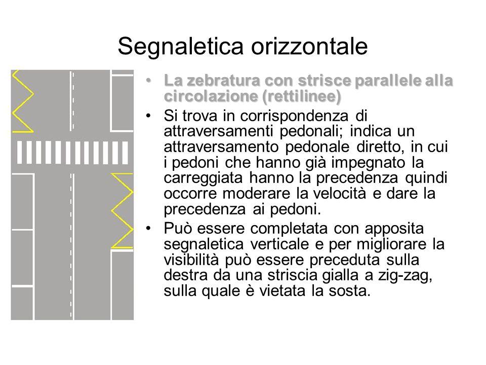 Segnaletica orizzontale La zebratura con strisce parallele alla circolazione (rettilinee)La zebratura con strisce parallele alla circolazione (rettili
