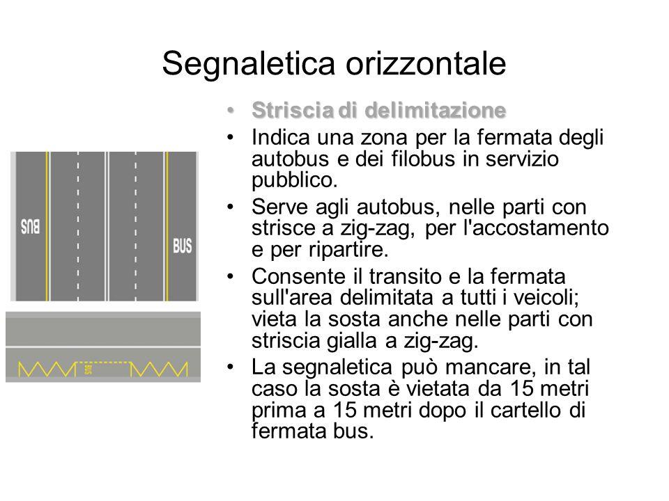 Segnaletica orizzontale Striscia di delimitazioneStriscia di delimitazione Indica una zona per la fermata degli autobus e dei filobus in servizio pubb