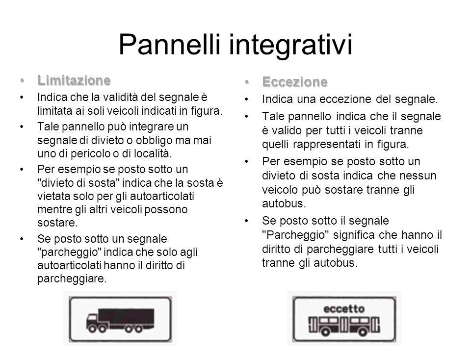 Pannelli integrativi LimitazioneLimitazione Indica che la validità del segnale è limitata ai soli veicoli indicati in figura. Tale pannello può integr