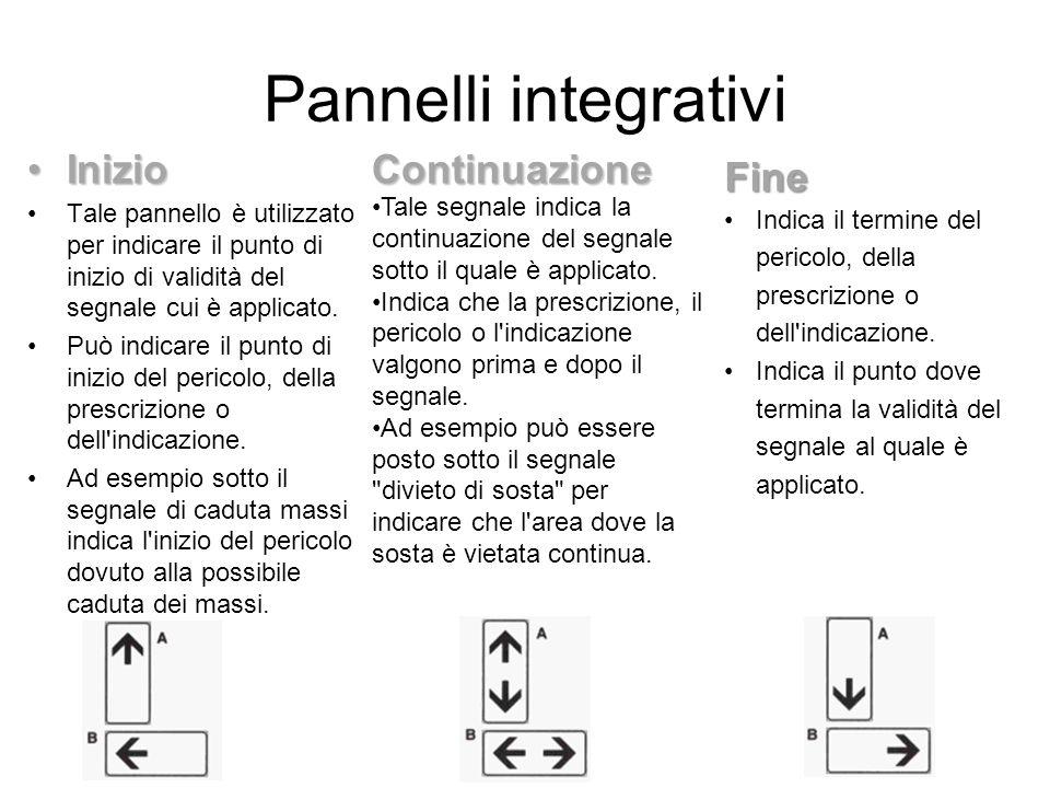 Pannelli integrativi InizioInizio Tale pannello è utilizzato per indicare il punto di inizio di validità del segnale cui è applicato. Può indicare il