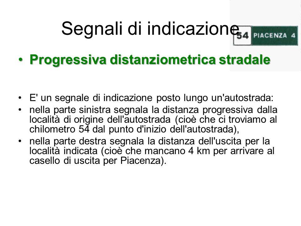 Segnali di indicazione Progressiva distanziometrica stradaleProgressiva distanziometrica stradale E' un segnale di indicazione posto lungo un'autostra