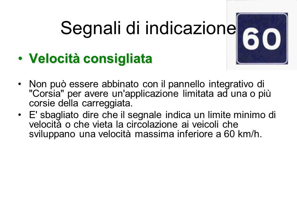 Segnali di indicazione Velocità consigliataVelocità consigliata Non può essere abbinato con il pannello integrativo di