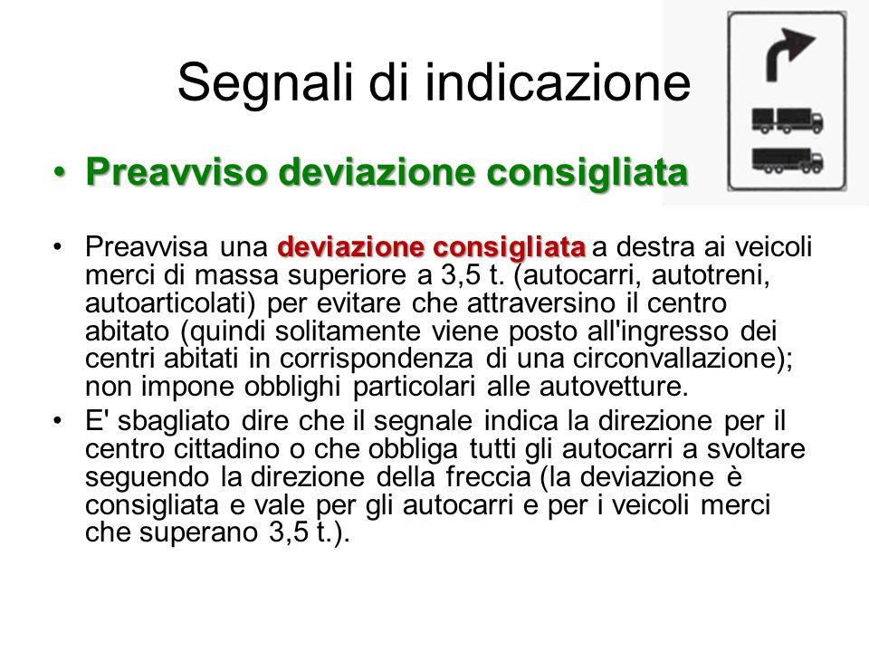 Preavviso deviazione consigliataPreavviso deviazione consigliata deviazione consigliataPreavvisa una deviazione consigliata a destra ai veicoli merci