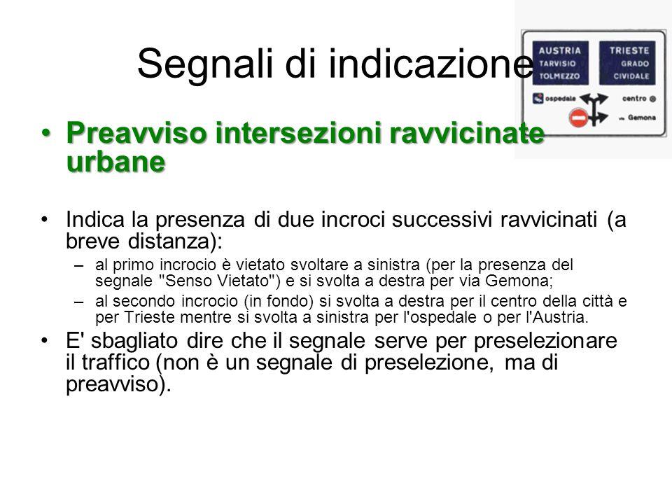 Segnali di indicazione Preavviso intersezioni ravvicinate urbanePreavviso intersezioni ravvicinate urbane Indica la presenza di due incroci successivi