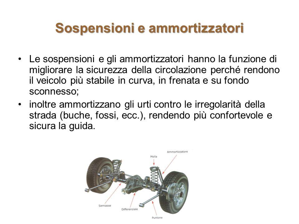 Sospensioni e ammortizzatori Le sospensioni e gli ammortizzatori hanno la funzione di migliorare la sicurezza della circolazione perché rendono il vei