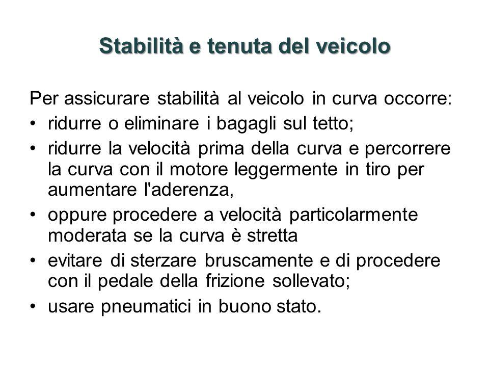 Stabilità e tenuta del veicolo Per assicurare stabilità al veicolo in curva occorre: ridurre o eliminare i bagagli sul tetto; ridurre la velocità prim