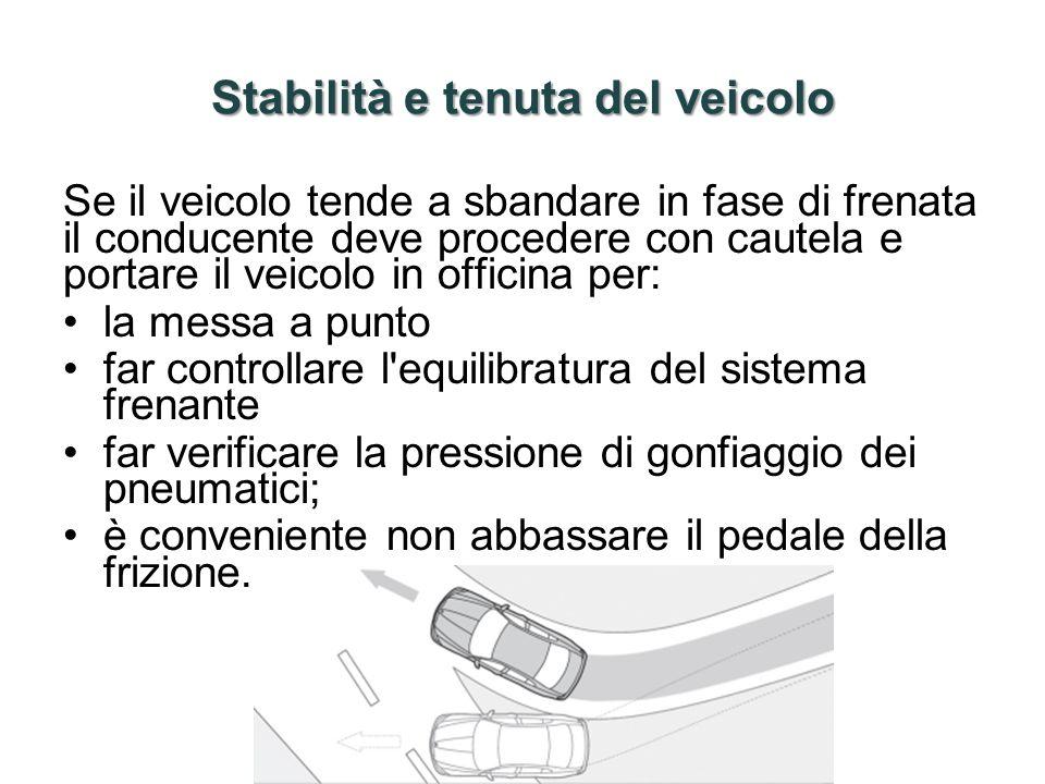 Stabilità e tenuta del veicolo Se il veicolo tende a sbandare in fase di frenata il conducente deve procedere con cautela e portare il veicolo in offi