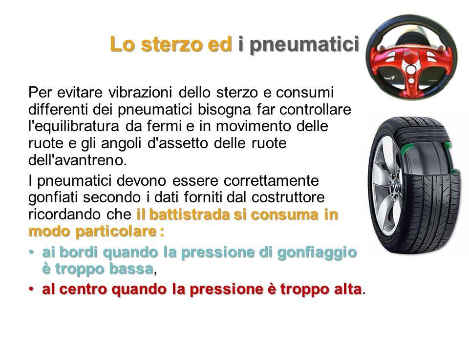 Lo sterzo ed i pneumatici Per evitare vibrazioni dello sterzo e consumi differenti dei pneumatici bisogna far controllare l'equilibratura da fermi e i
