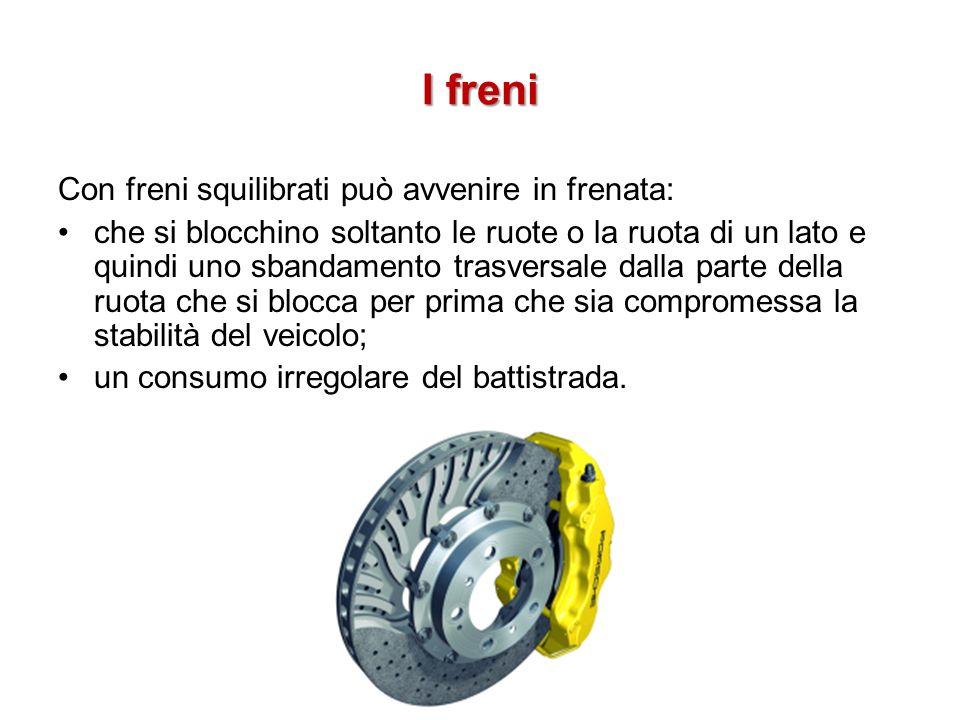 I freni Con freni squilibrati può avvenire in frenata: che si blocchino soltanto le ruote o la ruota di un lato e quindi uno sbandamento trasversale d
