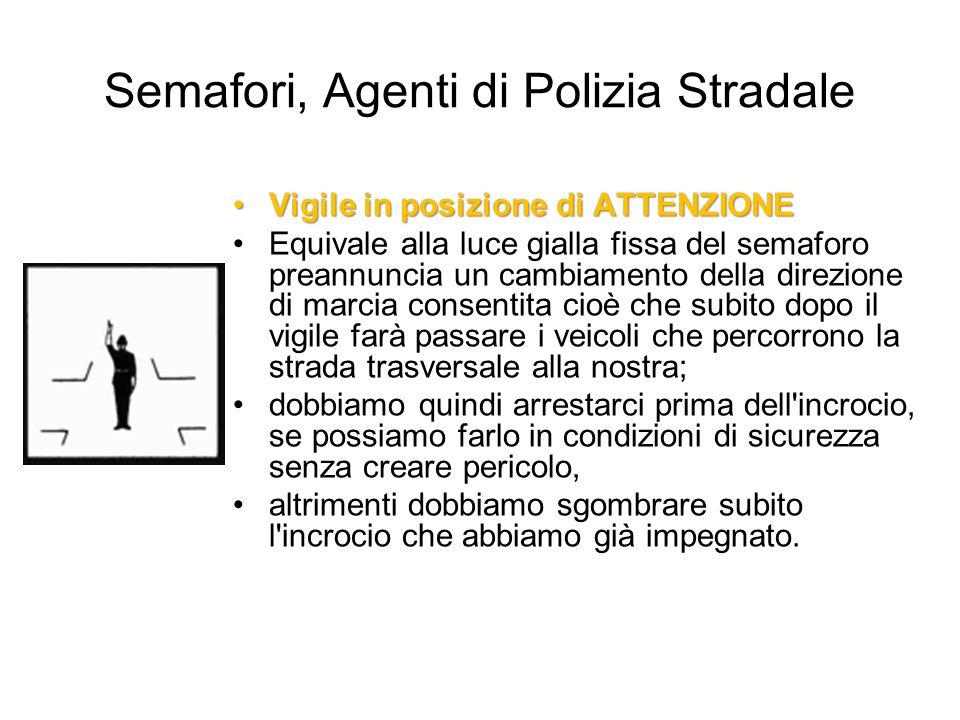 Semafori, Agenti di Polizia Stradale Vigile in posizione di ATTENZIONEVigile in posizione di ATTENZIONE Equivale alla luce gialla fissa del semaforo p