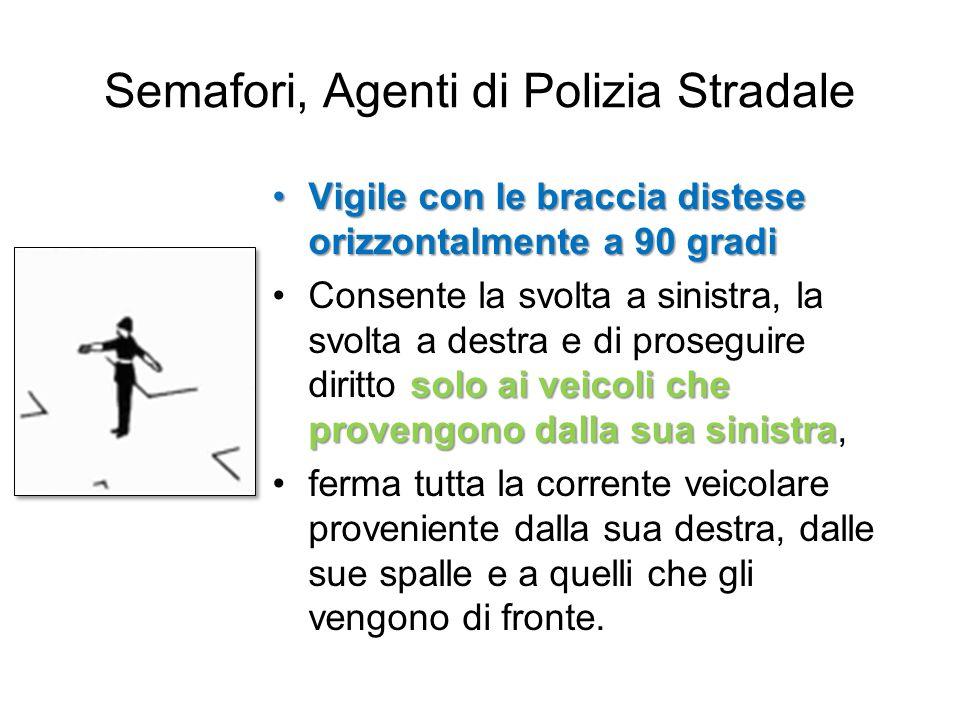 Semafori, Agenti di Polizia Stradale Vigile con le braccia distese orizzontalmente a 90 gradiVigile con le braccia distese orizzontalmente a 90 gradi