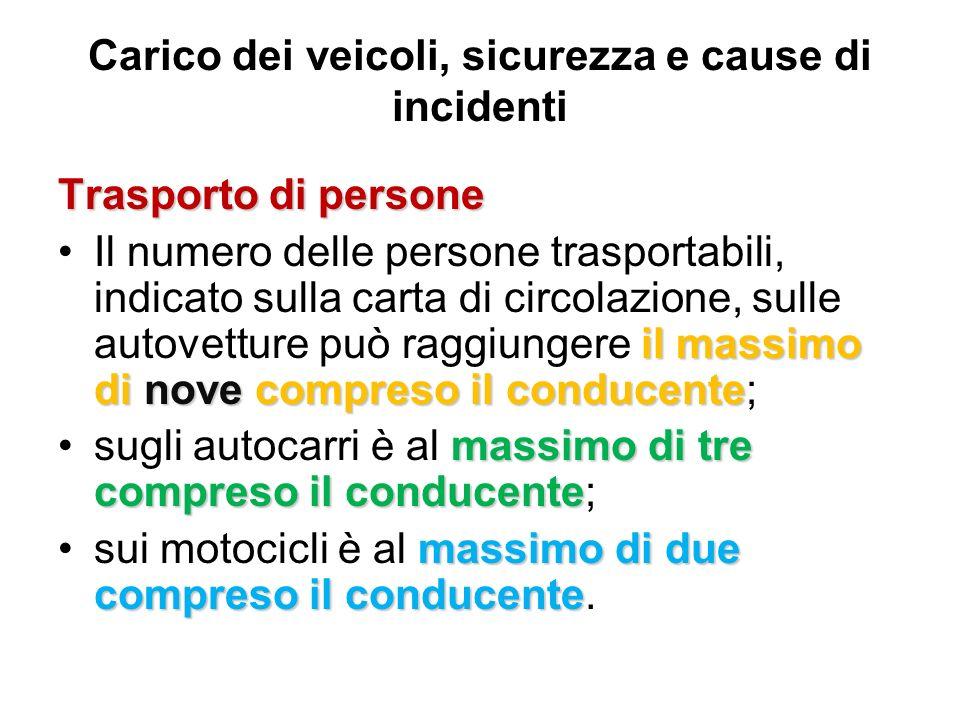 Carico dei veicoli, sicurezza e cause di incidenti Trasporto di persone il massimo di nove compreso il conducenteIl numero delle persone trasportabili