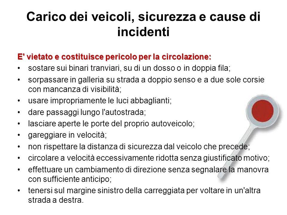 Carico dei veicoli, sicurezza e cause di incidenti E' vietato e costituisce pericolo per la circolazione: sostare sui binari tranviari, su di un dosso