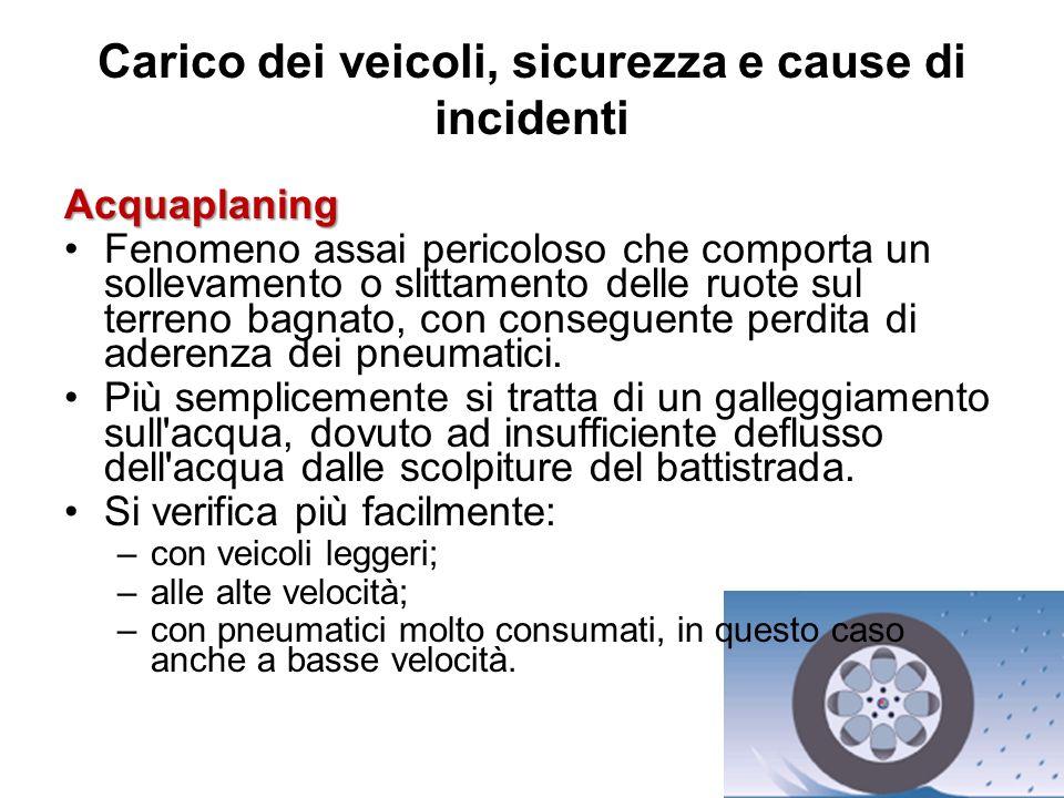 Carico dei veicoli, sicurezza e cause di incidenti Acquaplaning Fenomeno assai pericoloso che comporta un sollevamento o slittamento delle ruote sul t