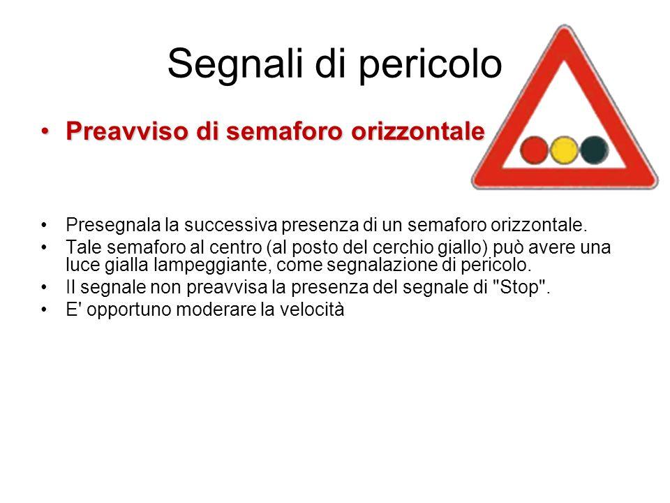 Segnali di pericolo Preavviso di semaforo orizzontalePreavviso di semaforo orizzontale Presegnala la successiva presenza di un semaforo orizzontale.