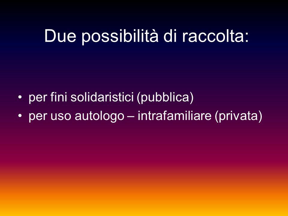 Due possibilità di raccolta: per fini solidaristici (pubblica) per uso autologo – intrafamiliare (privata)