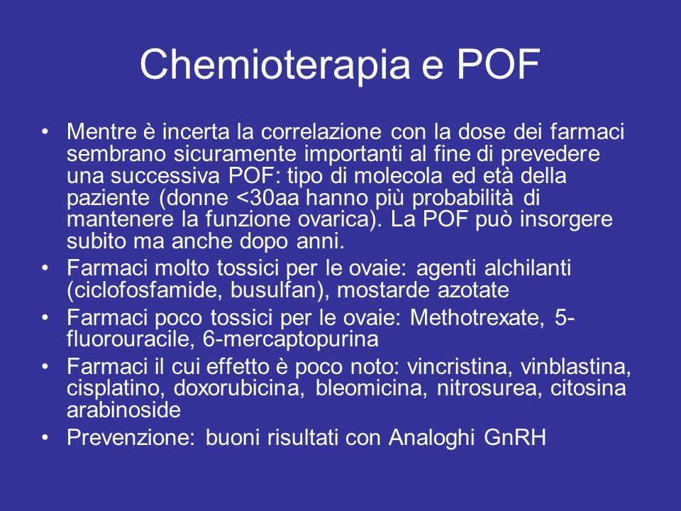 Chemioterapia e POF Mentre è incerta la correlazione con la dose dei farmaci sembrano sicuramente importanti al fine di prevedere una successiva POF: tipo di molecola ed età della paziente (donne <30aa hanno più probabilità di mantenere la funzione ovarica).