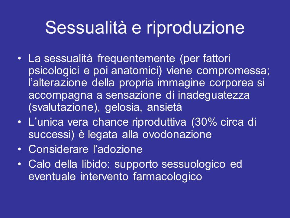Sessualità e riproduzione La sessualità frequentemente (per fattori psicologici e poi anatomici) viene compromessa; lalterazione della propria immagin