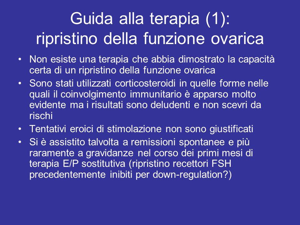 Guida alla terapia (1): ripristino della funzione ovarica Non esiste una terapia che abbia dimostrato la capacità certa di un ripristino della funzion