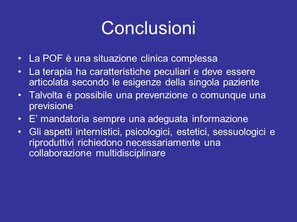 Conclusioni La POF è una situazione clinica complessa La terapia ha caratteristiche peculiari e deve essere articolata secondo le esigenze della singo