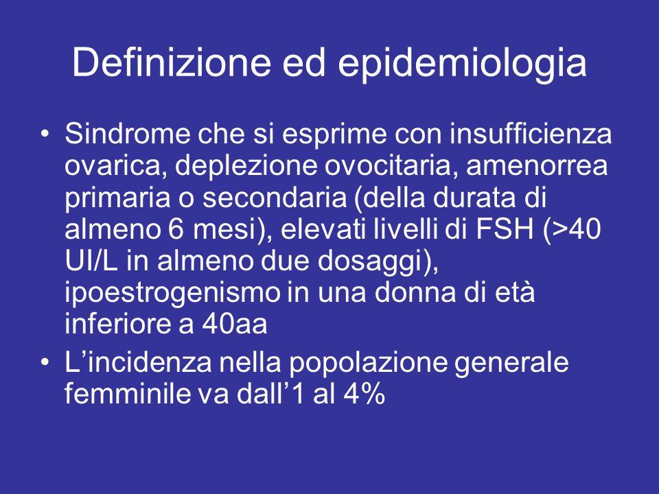 Definizione ed epidemiologia Sindrome che si esprime con insufficienza ovarica, deplezione ovocitaria, amenorrea primaria o secondaria (della durata di almeno 6 mesi), elevati livelli di FSH (>40 UI/L in almeno due dosaggi), ipoestrogenismo in una donna di età inferiore a 40aa Lincidenza nella popolazione generale femminile va dall1 al 4%