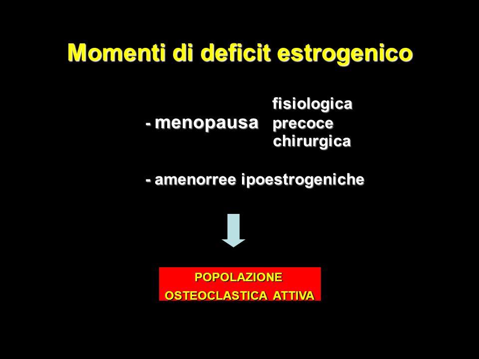 Momenti di deficit estrogenico fisiologica fisiologica - menopausa precoce - menopausa precoce chirurgica chirurgica - amenorree ipoestrogeniche - ame