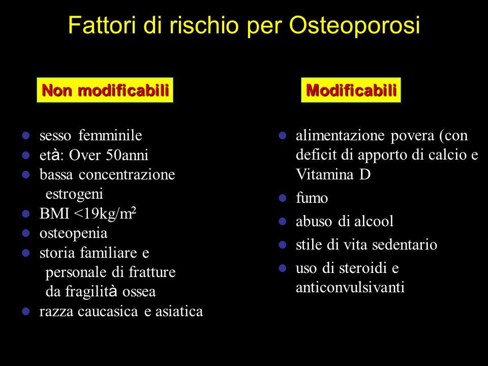 sesso femminile et à : Over 50anni bassa concentrazione estrogeni BMI <19kg/m 2 osteopenia storia familiare e personale di fratture da fragilit à osse