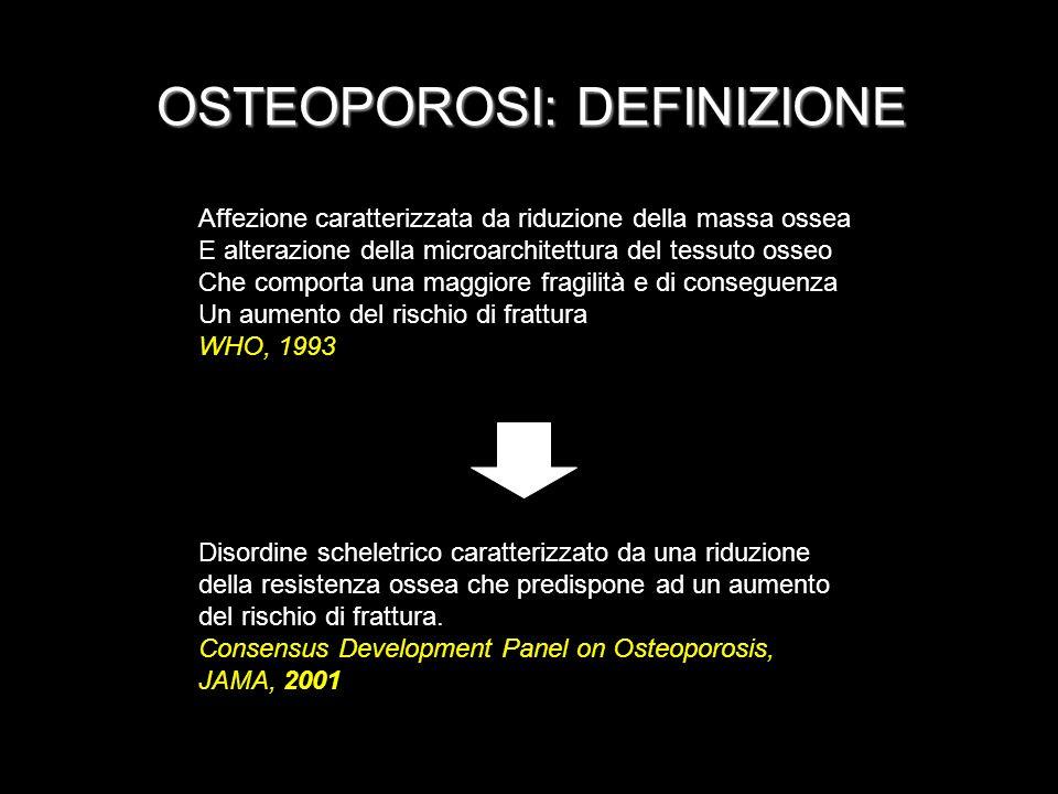 OSTEOPOROSI: DEFINIZIONE Affezione caratterizzata da riduzione della massa ossea E alterazione della microarchitettura del tessuto osseo Che comporta