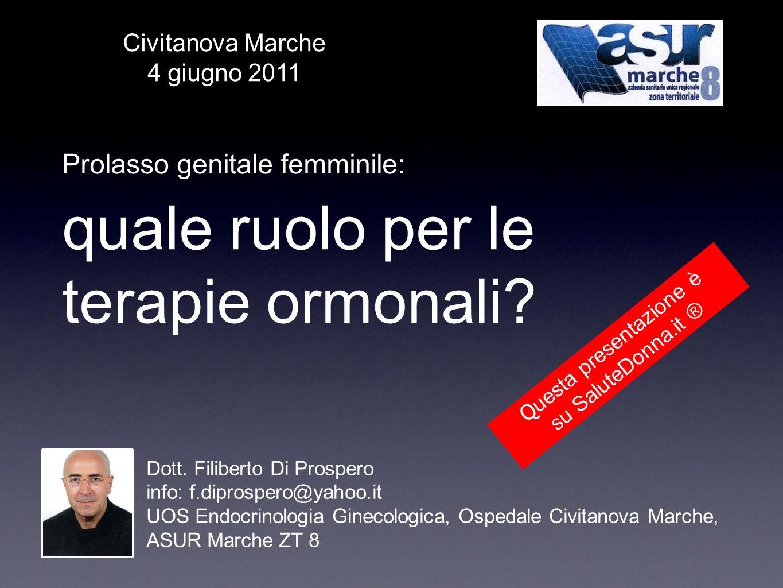 quale ruolo per le terapie ormonali? Prolasso genitale femminile: Dott. Filiberto Di Prospero info: f.diprospero@yahoo.it UOS Endocrinologia Ginecolog