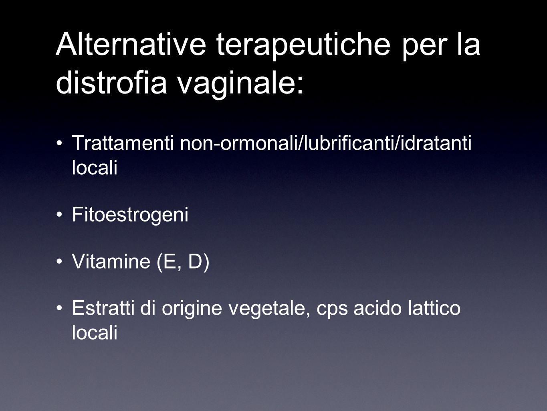 Alternative terapeutiche per la distrofia vaginale: Trattamenti non-ormonali/lubrificanti/idratanti locali Fitoestrogeni Vitamine (E, D) Estratti di o
