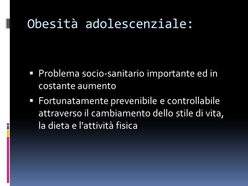 Obesità adolescenziale: Problema socio-sanitario importante ed in costante aumento Fortunatamente prevenibile e controllabile attraverso il cambiamento dello stile di vita, la dieta e lattività fisica