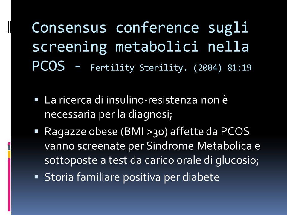 Consensus conference sugli screening metabolici nella PCOS - Fertility Sterility. (2004) 81:19 La ricerca di insulino-resistenza non è necessaria per