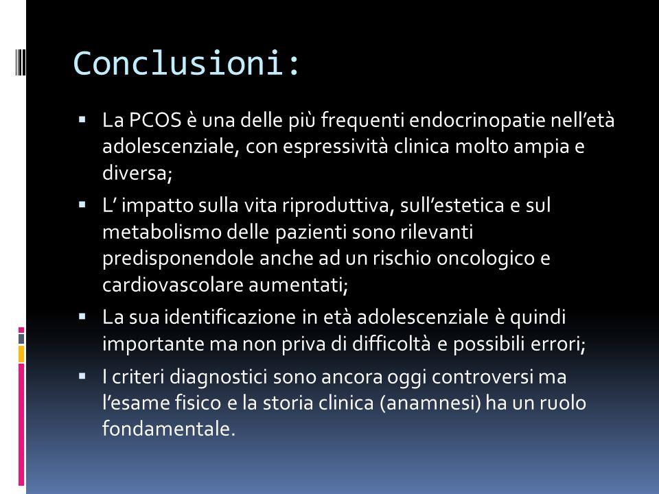 Conclusioni: La PCOS è una delle più frequenti endocrinopatie nelletà adolescenziale, con espressività clinica molto ampia e diversa; L impatto sulla