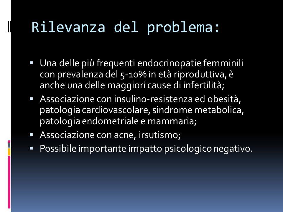 Rilevanza del problema: Una delle più frequenti endocrinopatie femminili con prevalenza del 5-10% in età riproduttiva, è anche una delle maggiori cause di infertilità; Associazione con insulino-resistenza ed obesità, patologia cardiovascolare, sindrome metabolica, patologia endometriale e mammaria; Associazione con acne, irsutismo; Possibile importante impatto psicologico negativo.