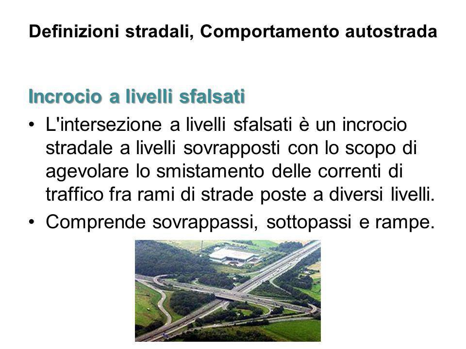 Definizioni stradali, Comportamento autostrada Incrocioa livelli sfalsati Incrocio a livelli sfalsati L'intersezione a livelli sfalsati è un incrocio