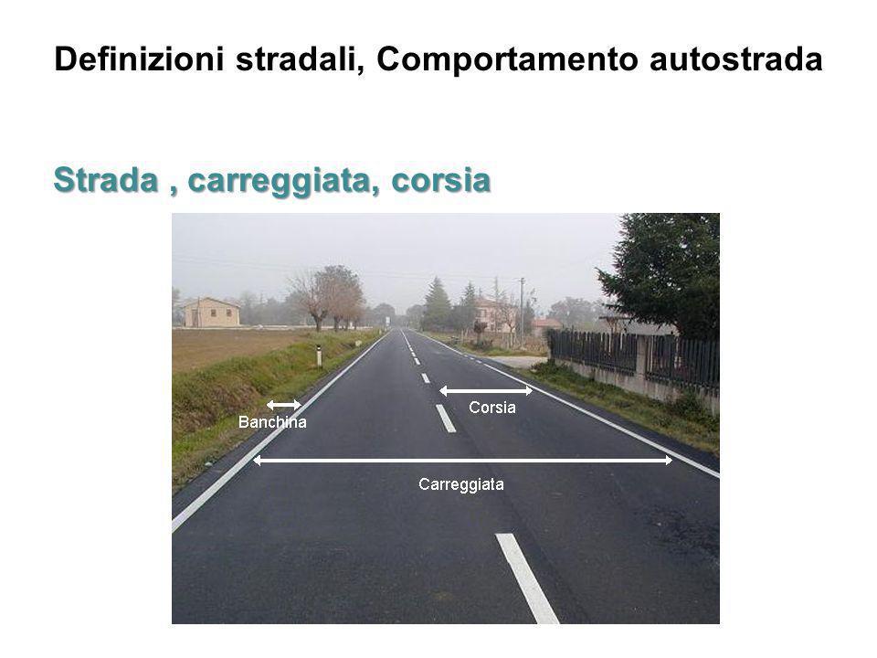 Definizioni stradali, Comportamento autostrada Intersezione a raso L intersezione a raso è un area comune a due o più strade, poste allo stesso piano o livello che permette lo smistamento delle correnti veicolari dall una all altra strada o braccio di strada.