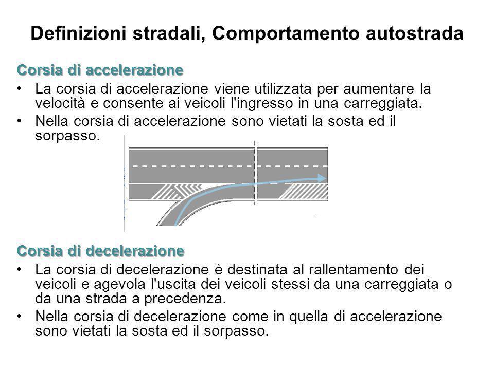 Definizioni stradali, Comportamento autostrada Corsia di accelerazione La corsia di accelerazione viene utilizzata per aumentare la velocità e consent