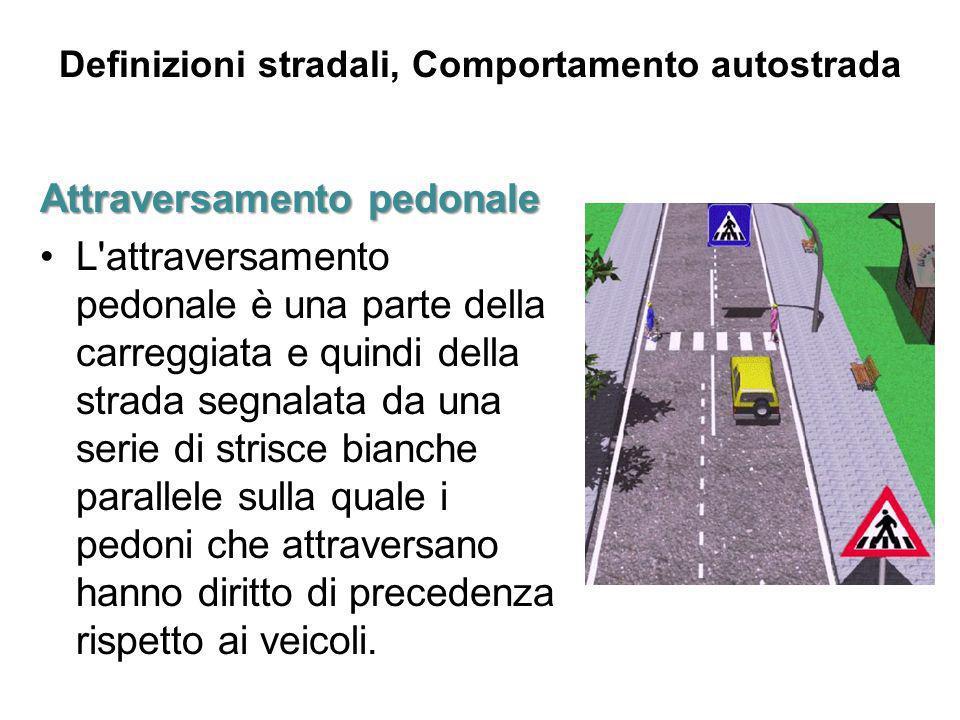 Definizioni stradali, Comportamento autostrada Attraversamentopedonale Attraversamento pedonale L'attraversamento pedonale è una parte della carreggia