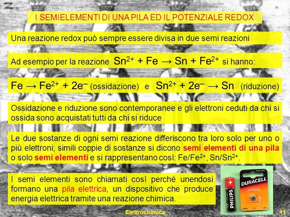 Elettrochimica11 Una reazione redox può sempre essere divisa in due semi reazioni Ad esempio per la reazione Sn 2+ + Fe Sn + Fe 2+ si hanno: Fe Fe 2+