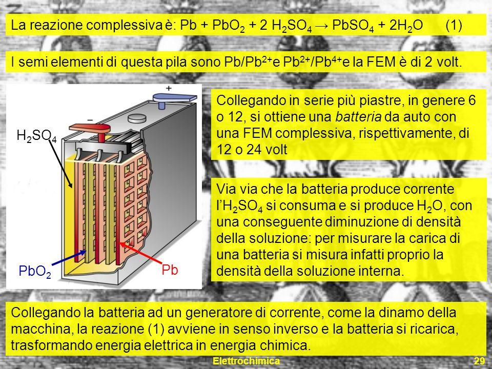 Elettrochimica29 La reazione complessiva è: Pb + PbO 2 + 2 H 2 SO 4 PbSO 4 + 2H 2 O (1) I semi elementi di questa pila sono Pb/Pb 2+ e Pb 2+ /Pb 4+ e