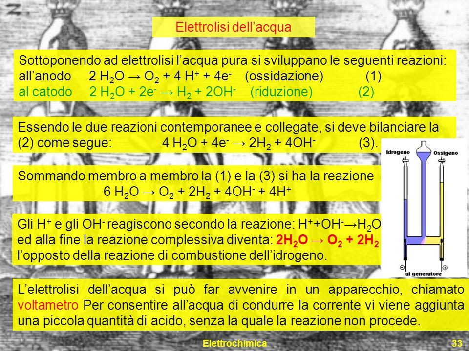Elettrochimica33 Elettrolisi dellacqua Sottoponendo ad elettrolisi lacqua pura si sviluppano le seguenti reazioni: allanodo 2 H 2 O O 2 + 4 H + + 4e -
